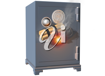 Royalty Free Clipart Image of a Safe with Dynamite
