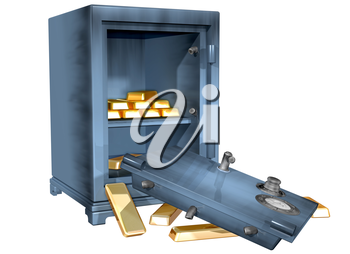 Royalty Free Clipart Image of a Safe That is Open with Money Bars in it