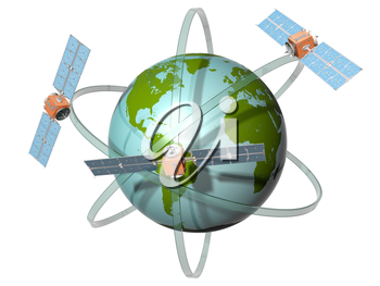 Royalty Free Clipart Image of Satellites Orbiting the Earth