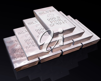Royalty Free Clipart Image of a Stack of Pure Silver Bars on a Reflective Surface.