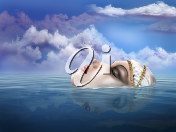 Royalty Free Clipart Image of an Illustration of the Legendary Lady of the Lake Appearing from Beneath the Water
