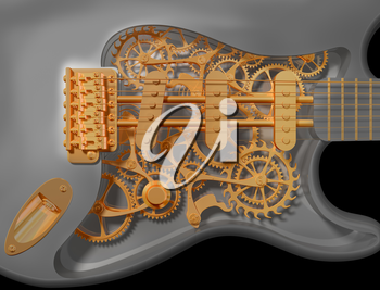 Royalty Free Clipart Image of an Original Custom Clockwork Guitar