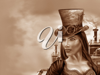Royalty Free Clipart Image of a Steampunk Woman in an Industrial Motif