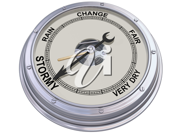 Royalty Free Clipart Image of a Barometer Indicating an Ominous Storm