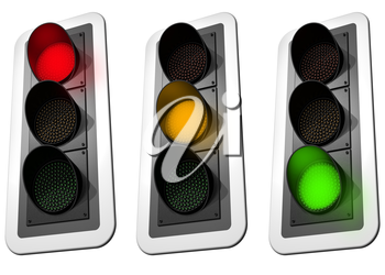 Isolated illustration of three signaling traffic lights