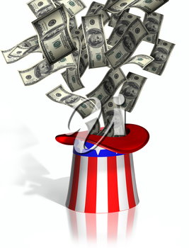 Illustration of money falling into Uncle Sam top hat