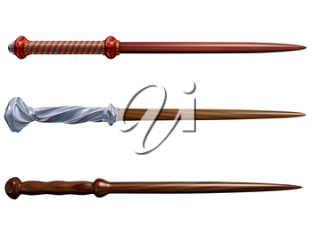 Isolated illustration of three magical wizard wands