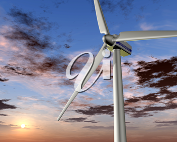 Illustration of a wind turbine with a rising sun in the background