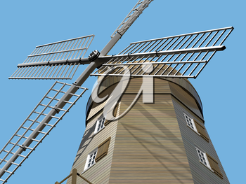 Illustration of an ancient windmill viewed from below