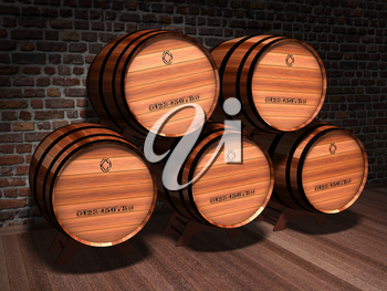 Illustration of wooden barrels in an old cellar