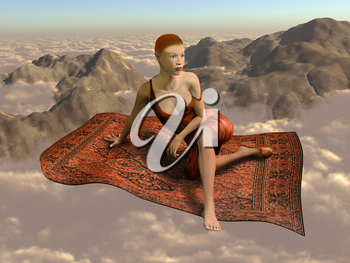 Illustration of a woman flying a magic carpet through the clouds and over the mountains