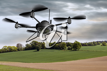 Royalty Free Clipart Image of a Drone Searching the Countryside