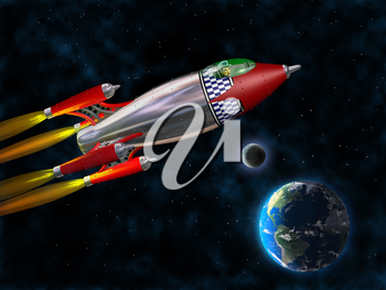 Stylized illustration of a retro rocket flying through space