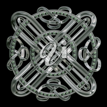 Silver Celtic knot with emeralds isolated on a black background