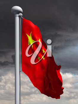 Illustration of the flag of China waving in the wind