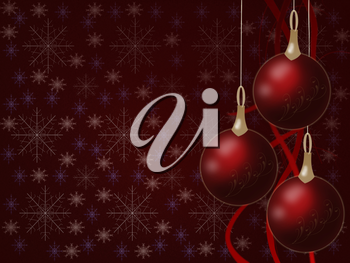 Royalty Free Clipart Image of a Christmas Background With Ornaments