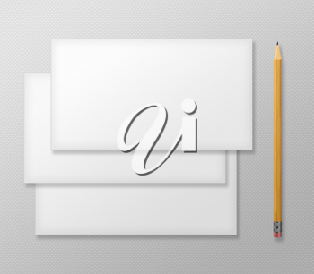 Set of Blank Envelopes with Yellow Pencil on Gray Background. With Soft Shadows.
