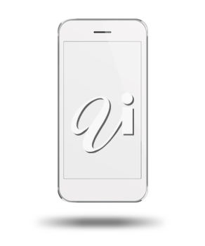 Realistic modern touchscreen phone. With light shadows under smartphone. Isolated on white background. Empty screen. Highly detailed illustration.
