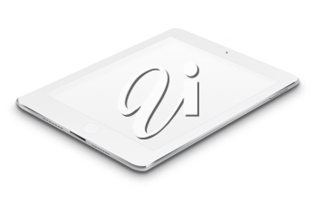 Realistic tablet computer with blank screen isolated on white background. Highly detailed illustration.