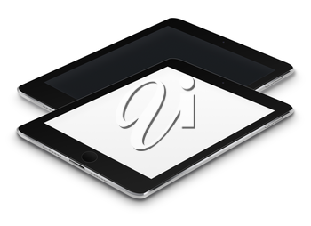 Realistic tablet computers with black and blank screens isolated on white background. Highly detailed illustration.