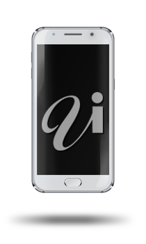 Realistic mobile phone with black screen and shadows isolated on white background. Highly detailed illustration.