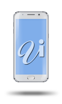 Realistic mobile phone with blue screen and shadows isolated on white background. Highly detailed illustration.