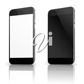Modern mobile smart phones with white and blank screen isolated on white background. Highly detailed illustration.