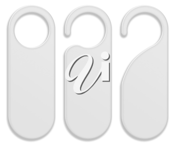 Set of door hanger tags for room in hotel, resort, home isolated on white background. Highly detailed illustration.