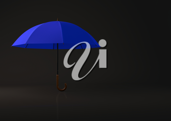 Open blue umbrella on black background. Highly detailed render.
