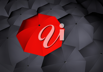Top view on unique red umbrella among many dark ones. Business and leadership concept. Highly detailed render.