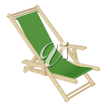 Wooden beach deck chair with green fabric isolated on white background. 3d rendering.