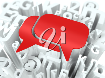 Red Speech Bubble on Alphabet Background. Background for Your Blog or Publication.