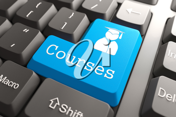 Blue Courses Button on Computer Keyboard. Background for Your Blog or Publication.