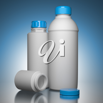 Pill Bottles on Blue Background the Chemical or Medical Concept