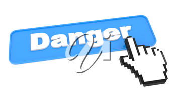 Blue Web Button with Word Danger. On White Background.