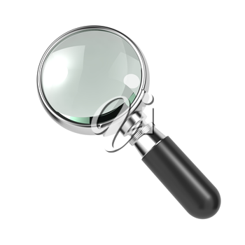 Magnifying Glass with Silver Border, Isolated on White.