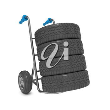 Hand Truck with Tires Isolated on White Background