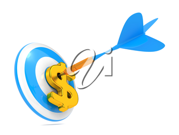 Blue Dart Hit the Dollar Sign. Business Concept.