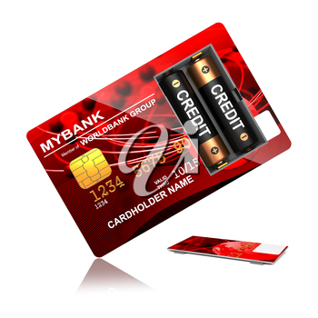 Credit Concept. Red Credit Card with Batteries that say Overdraft.