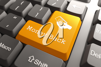 Money Back - Orange Button on Computer Keyboard. Internet Concept.