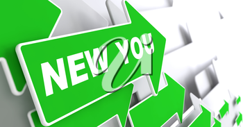 New You - Business Concept. Green Arrow with New You slogan on a grey background. 3D Render.