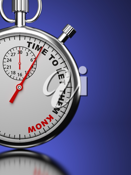 Time To Let Them Know - Business Concept. Stopwatch with Time To Let Them Know slogan on a blue background. 3D Render.