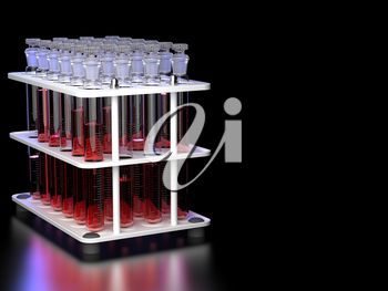 Test Tubes with Red Liquid in a Stand on Black Background. 3D Render.