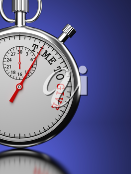 Time To Give Concept. Stopwatch with Time To Give slogan on a blue background. 3D Render.