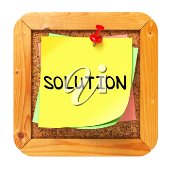 Solution, Yellow Sticker on Cork Bulletin or Message Board. Business Concept. 3D Render.