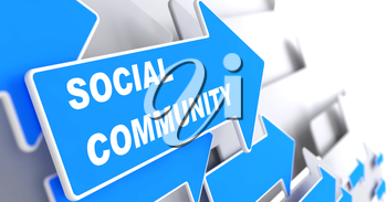 Social Community - Social Concept. Blue Arrow with Social Community slogan on a grey background. 3D Render.
