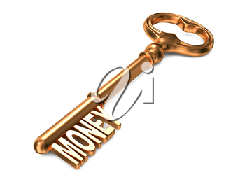 Money - Golden Key on White Background. 3D Render. Business Concept.
