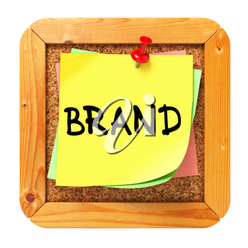 Brand, Yellow Sticker on Cork Bulletin or Message Board. Business Concept. 3D Render.
