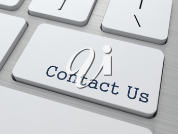 Support Concept. Button on Modern Computer Keyboard with Word Contact Us on It.