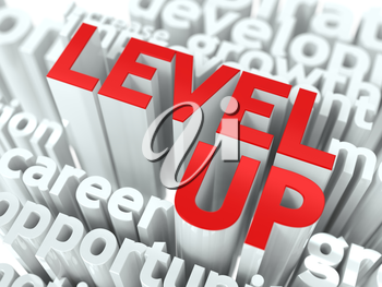 Level Up Concept. The Word of Red Color Located over Text of White Color.